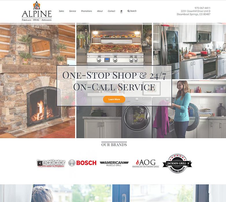 Alpine Appliance & Fireplace's Website