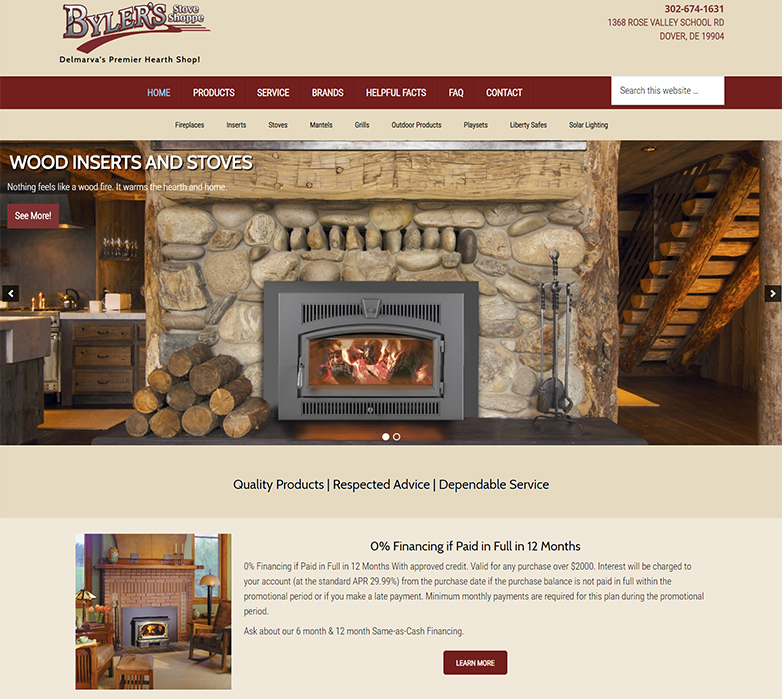 Bylers Stove Shoppe Website